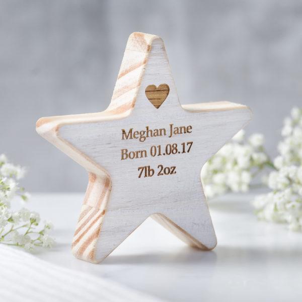 personalised baby wooden wish star keepsake