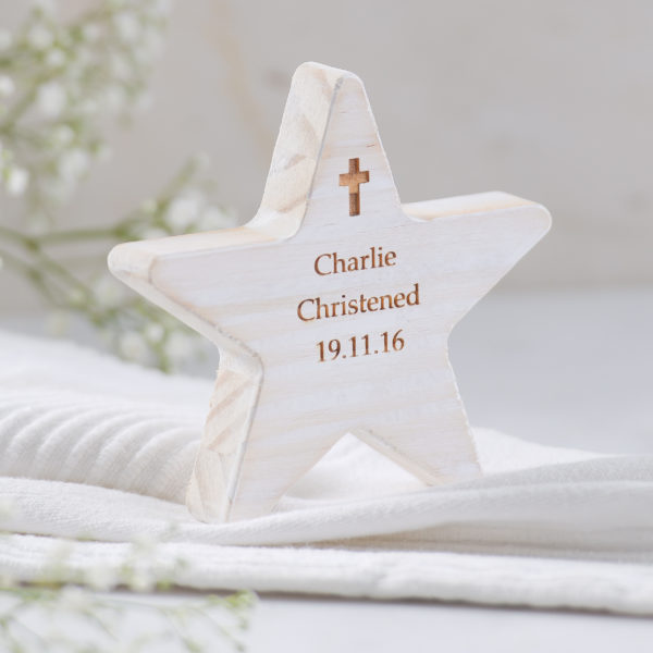 personalised christening wooden star with cross