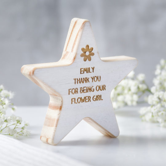 personalised flower girl wooden star keepsake