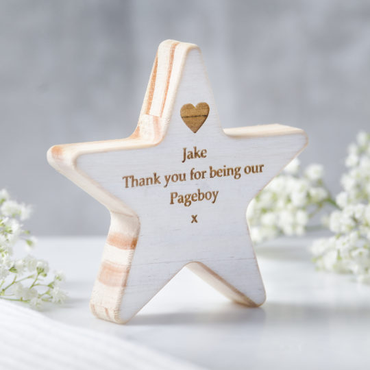 personalised pageboy wooden star keepsake