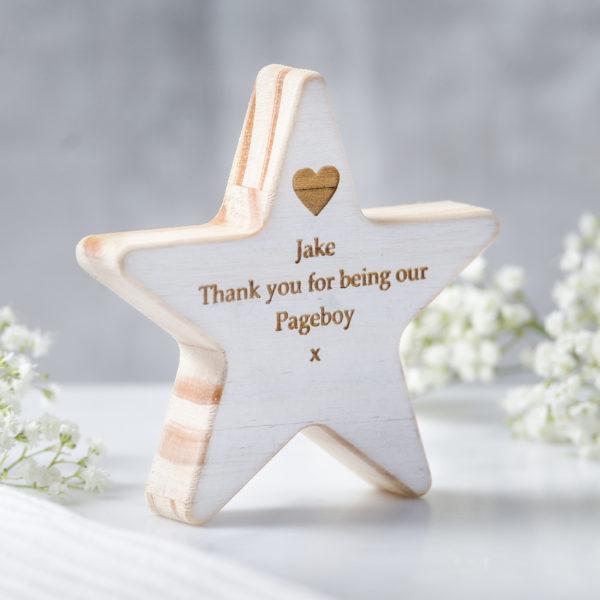 personalised pageboy wooden star keepsake