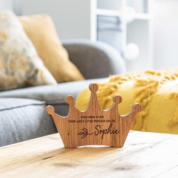 Girls Personalised Little Princess Crown Keepsake