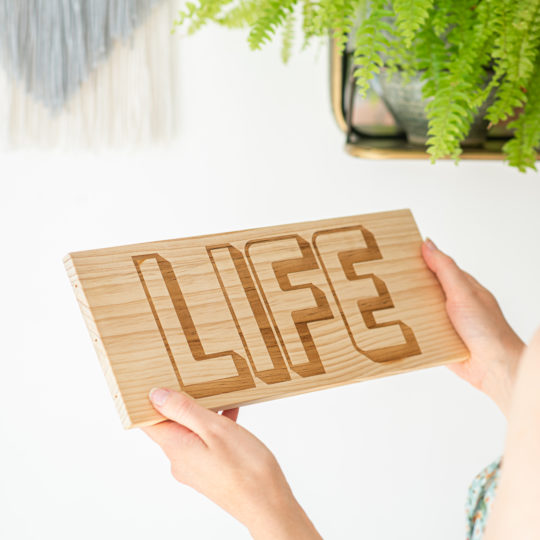 Personalised 'Life' Hanging Wooden Sign