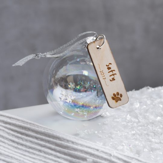 Personalised glass pet bauble