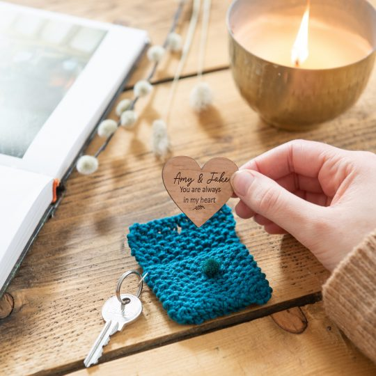 blue pouch heart keyring